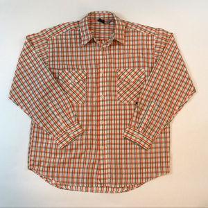 Tavarua Surf Button Front Size Large Plaid Shirt